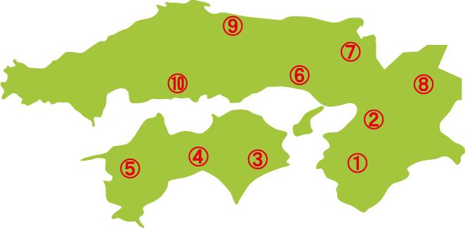 関西&四国地方マップ